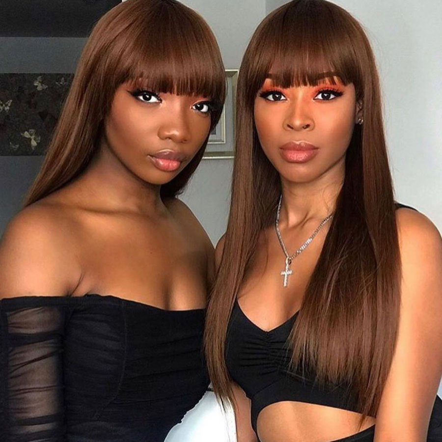 Synthetic and Natural Human hair wigs with bangs