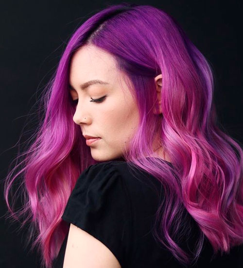 A Pink and Purple Hair Cut For A Very Pretty Look
