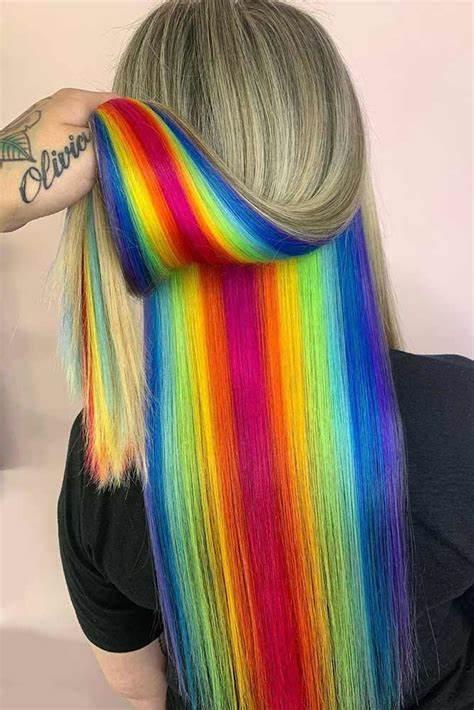 A Very Simple Style That Creates Hidden Rainbow Hair Color