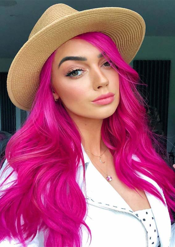 Hot pink is a fresh and exciting Hair cut