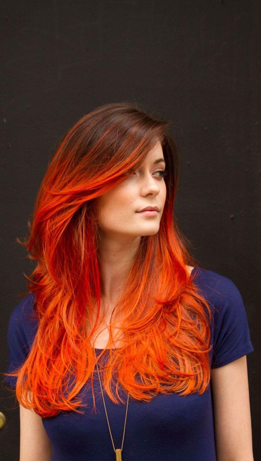 Burnished Orange Hair Color on Blond Women