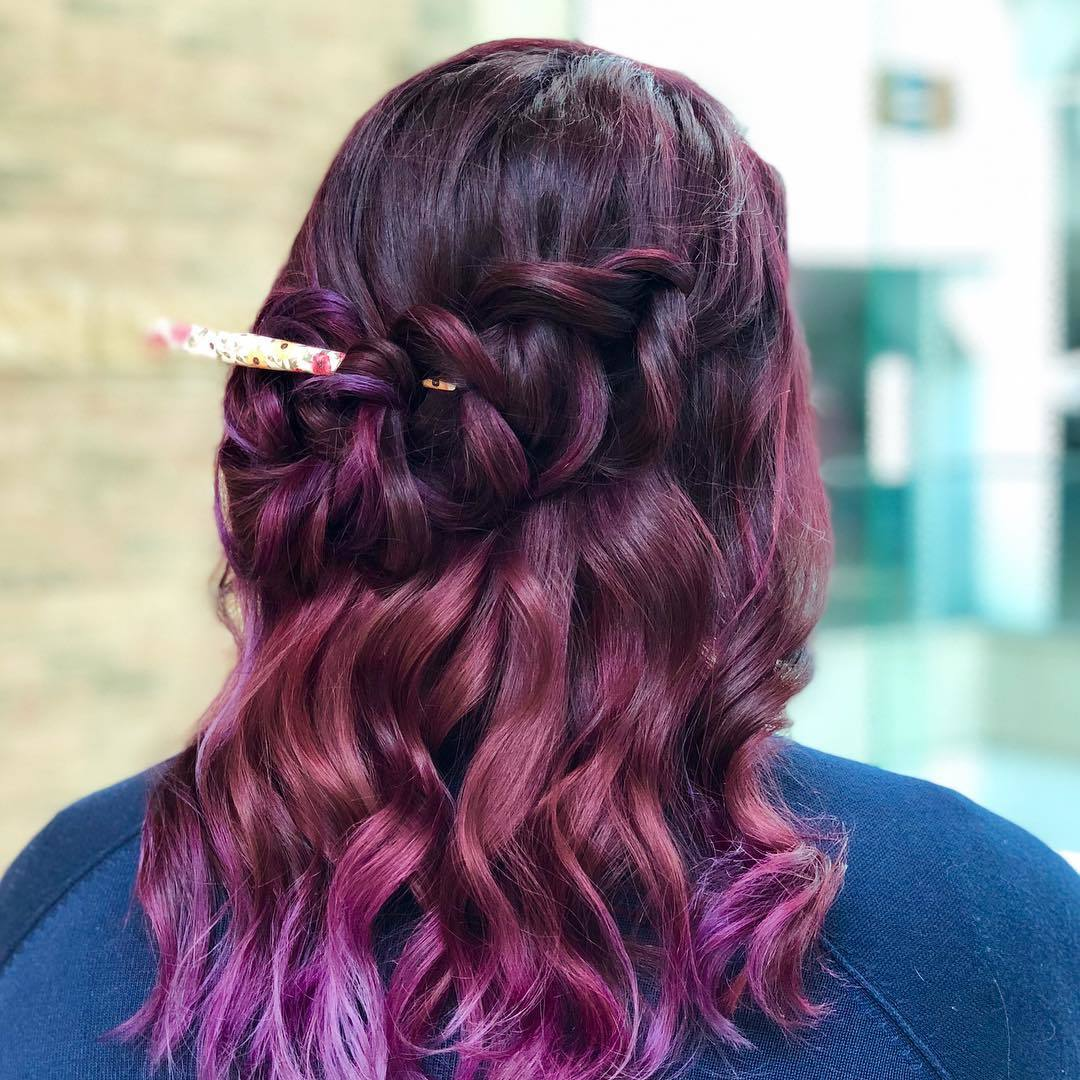 Beautiful Styles For Purple Brown Hair
