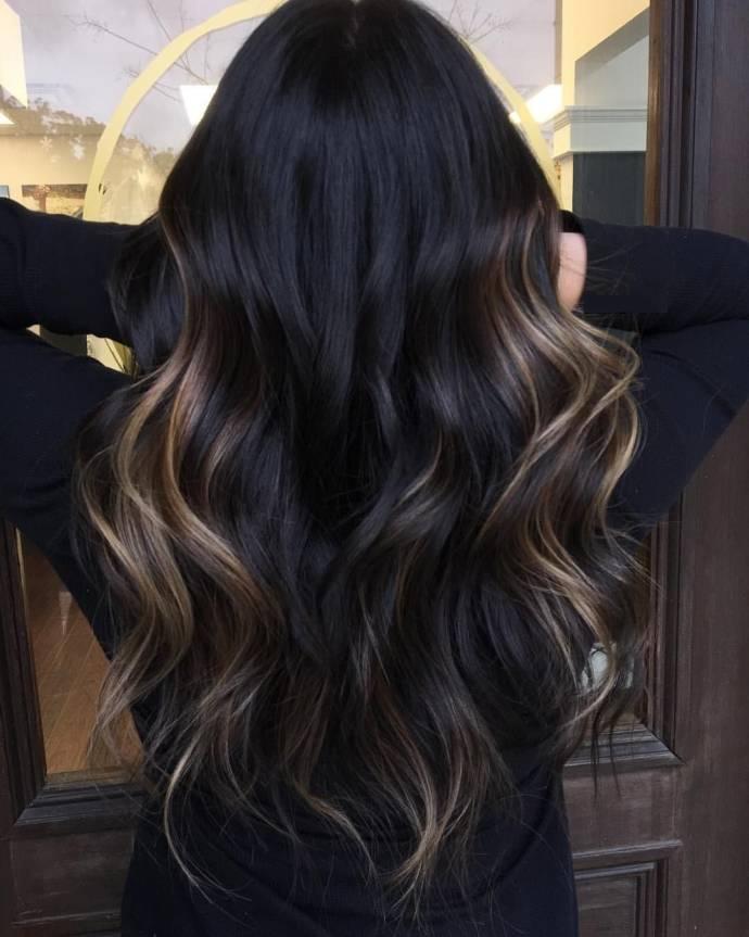 Sexy Blonde Balayage On Black Hair