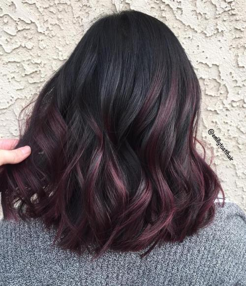 Hot and Trending – Black Styles With Burgundy Highlights On Black Hair