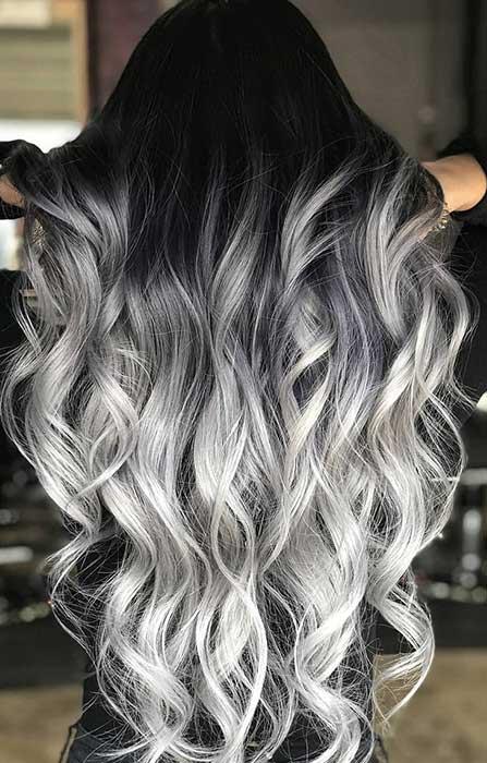 Latest Silver Ombre Hair Design